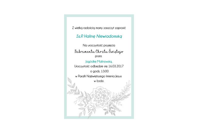 Zaproszenie Chrzest Rękodzieło Chorągiewki Zaproszenia Chrzest