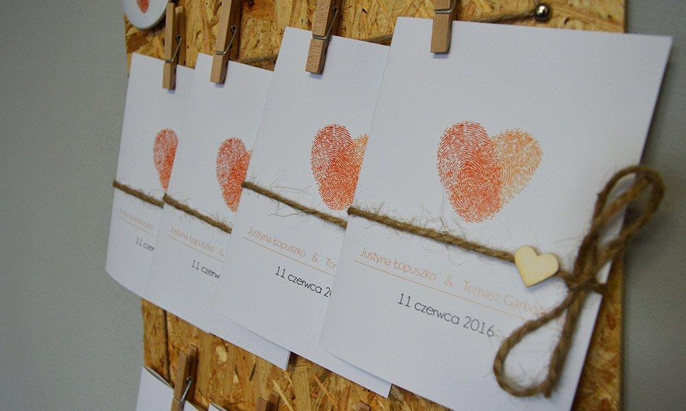 Inspiracje ślubne Zaproszenia Linie Papilarne Blog U Nas