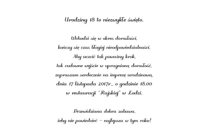 Tekst Zaproszenia Na 18 Flk59 Usafrica